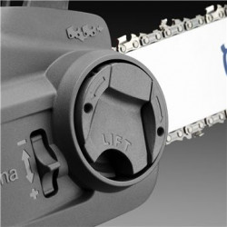 Натяжитель цепи, регулируемый без инструментов Быстрое и легкое натяжение цепи, сборка шины и цепи без каких-либо инструментов.