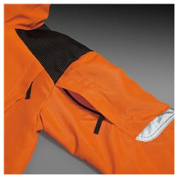 Pockets on shoulders for placing protection padding.