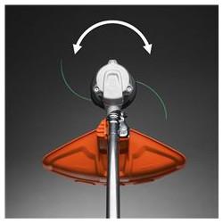 Divos virzienos rotējoša trimera spole Trimmera spolei iespējams mainīt rotācijas virzienu, tādējādi mazinot nopļāutās zāles nonākšanu uz celiņiem.