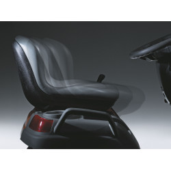 Adjustable while seated; seat moves forward and down, or backwards and up.