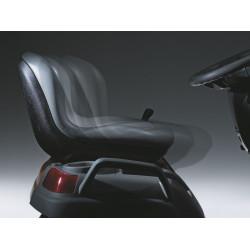 Regulējas tajā sēžot; sēdeklis virzās uz priekšu un lejup vai atpakaļ un augšup.