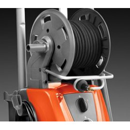 Easy hose reel roll-up for convenient and efficient storage, supported by a metal guide.
