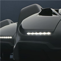LED headlights Energy-efficient LED headlights for better visibility and control even in the dark. The lights will also start flashing if a malfunction occurs.