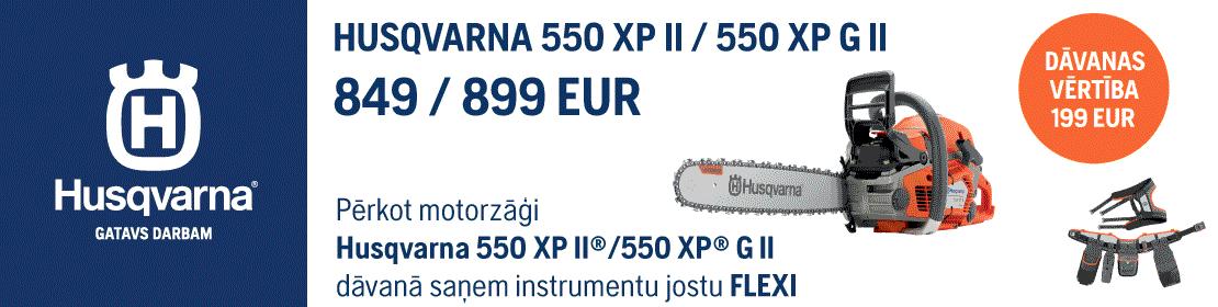 Motorzāģis HUSQVARNA 550 XP II / 550 XP G II 15'' dāvanā instrumentu josta FLEXI